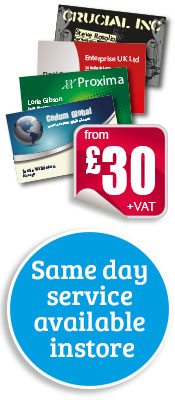 Same day Business Card printing available instore