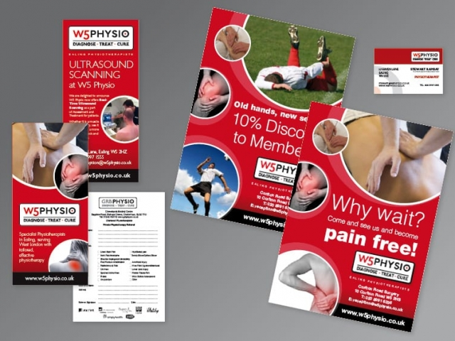 Leaflet and poster design and printing W5Physio